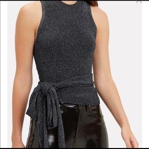 3.1 Phillip Lim Gunmetal tie waist sleeveless knit